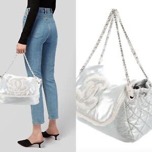 Authentic Chanel Silver Leather Shoulder Bag