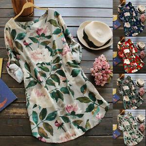 Summer Womens Casual Loose Long Sleeve Floral Print Tunic Tops Shirts Mini Dress