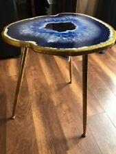 Metal Round Side Table Small Gold Furniture Vintage Lounge Coffee End Wood Unit