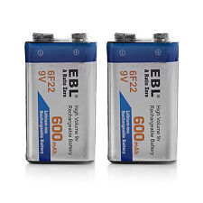 2PACKS 9V Rechargeable Li-ion Batteries Lithium-Ion 9-VOLT 600mAh High Capacity