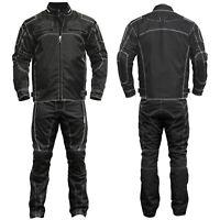 GermanWear™ 2-teiler Motorradkombi Textilien Motorradjacke Motorradhose Schwarz
