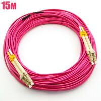 15M LC to LC OM4 40/100Gb Duplex 50/125 Multimode Fiber Optic Cable Erika Violet