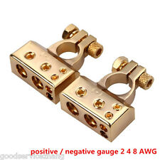 POSITIVE NEGATIVE HEAVY DUTY BATTERY TERMINALS HIGH END GOLD TERMINAL CONNECTORS