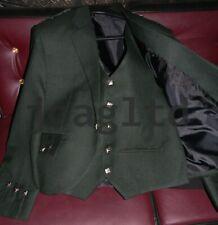 """Argyle kilt Jacket & Waistcoat/Vest,Scottish Argyle Jacket Green Mixed Wool 46""""L"""