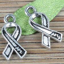90pcs tibetan silver cancer awareness ribbon design charms EF0261