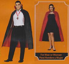 ADULT REVERSIBLE CAPE Costume Black Red Women Men Halloween Dracula Vampire NEW