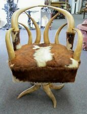 ANTIQUE COWHORN SWIVEL CHAIR  C1920'S