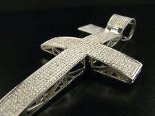 3.15 Ct Mens White Gold Finish Diamond Xl Cross Pendant