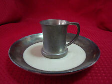 ENGLISH PEWTER CUP AND SAUCER SET