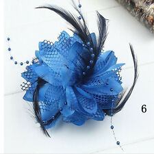 Pin Fascinator Handmade Flower Corsage Hair Clips Accessories Feather Hairband