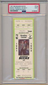 Michael Jordan Scores 46 Points Chicago Bulls vs Bucks 11-2-1991 Ticket Stub PSA