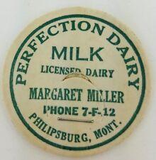 "Vintage Milk Cream Bottle Cap 1-5/8"" Perfection Dairy Philipsburg Montana a2-140"