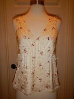 4 Banana Republic 100% Silk Lined Beige Striped Pink Floral Sleeveless Top