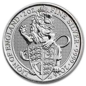 2016 Queens Beast 2 oz silver coin Lion of England