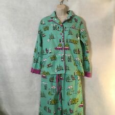 Munki Munki Women's Flannel Pajama 2 Piece Set Christmas Tree Holiday Sz Medium