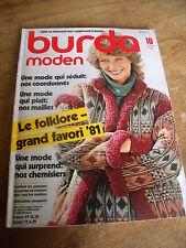 MAGAZINE BURDA VINTAGE LE FOLKLORE GRAND FAVORI '81 CHEMISIRS EN VOGUE  1981