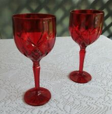 "Waterford Marquis Brookside Red Water Wine Stems Glasses 8-3/4"" Pair"