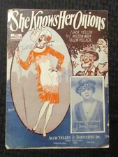 1926 SHE KNOWS HER ONIONS Sheet Music GD 2.0 Sophie Tucker 6pgs