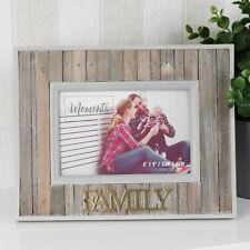 "Celebrations Rustic Wooden Photo Frame 6"" x 4"" - Family"