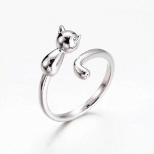 Lovely Cute Cat Adjustable Open Ring 925 Sterling Silver Ladies Girls Gift Uk