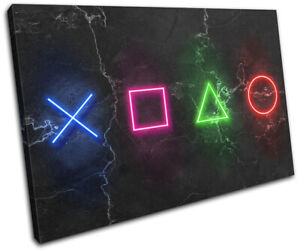 Play Station Symbols Neon Gaming SINGLE CANVAS WALL ART Picture Print