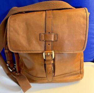 Fossil Unisex Leather Messenger Bag Brown Tan Crossbody