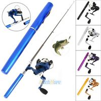 Aluminum Mini Retractable Pocket Fishing Rod Pole w/ Fishing Reel Pen Shape 2019