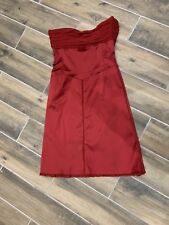 Whistles Red Satin Silk Dress 14 Valentines Little Red Dress