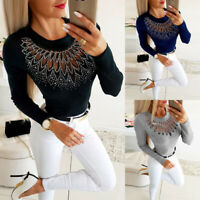 Womens Mesh Hollow Long Sleeve T-Shirt Tops Ladies Casual Round Neck Slim Blouse