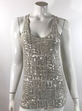 J Crew Womens Tank Top Size XS Gray White Sleeveless Geometric Sequin Front NEW