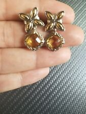 John Hardy .925 Sterling Silver 18K Gold KAWUNG Citrine  Dangle Drop Earrings