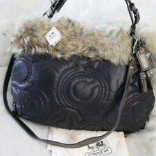 NWT COACH Coyote MINK FUR quilted XL Hobo Crossbody Shoulder Hobo Bag Purse NEW