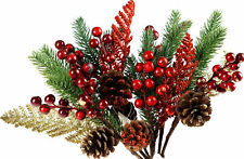 6 x Artificial Flower Christmas Pine Cone Berry Decorations Arrangements