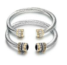 DG Classic Cable Cuff Bracelet Stainless Steel Double Station Couple His and Her