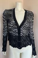 Missoni Cardigan Sweater Size 38 Women's Black White Zig Zag Knit Printed Button