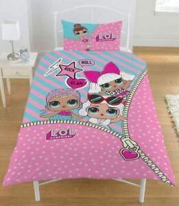 Single Bed Duvet Cover Set LOL Reveal Polka Stripes Reversible Bedding