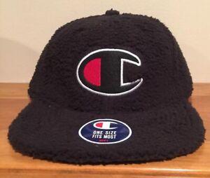 Champion Sherpa Leather Strapback  Hat Cap Baseball Dad Fit Fleece Soft