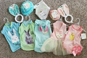 Pet Easter T-Shirt Bunny Rabbit Chick Green Blue Pink Ruffle Bow Hat Dog Apparel