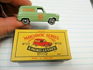 Vint Moko Lesney Matchbox GPW No 59 Ford Thames Singer Van & Original B4 Box