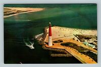 Ocean County NJ, Barnegat Lighthouse Aerial View Bay Chrome New Jersey Postcard