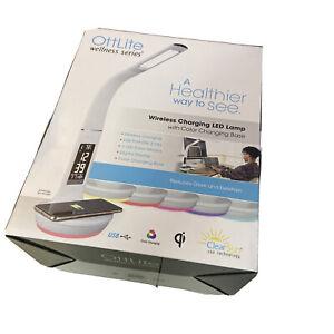 OttLite Wellness Series Wireless Charging WHITE LED Desk Lamp w/Digital Display