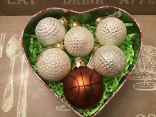 5 GOLF balls & 1 BASKETBALL Christmas Ornaments in cute box !!!