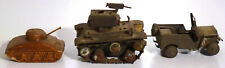 Unusual TRENCH ART (WW 2 P.O.W) jeep and tank, + tank 2. in cans, found objects.
