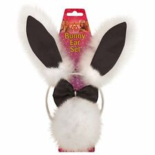 Ladies Black White Bunny Rabbit Fancy Dress Headband Ears Tail & Bow Tie
