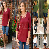 NEW Womens Blouse Hollow Neck Long Sleeve Ladies Top T Shirt Loose Casual Tops