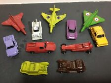 VINTAGE TOOTSIE TOY CAR LOT WITH 3 DIE CAST JETS AND 2 UNMARKED CARS