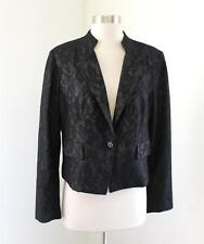 NWT Chico's Black Metallic Floral Lace Moto Blazer Jacket Chicos Size 1 Gray
