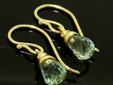 E110- Genuine Solid 9ct Yellow Gold NATURAL Blue Topaz  Briolette Drop Earrings