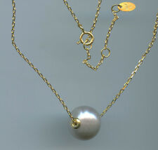 925 GOLD VERMEIL & 12MM TO 13MM GRAY FRESHWATER PEARL NECKLACE