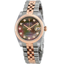 Rolex Datejust 31 Black Mother of Pearl Diamond Dial Automatic Ladies Watch